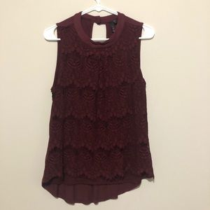 Lace Layered Maroon Mock Neck Top